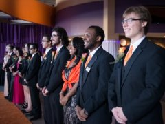 Buffalo State students stand in a greet line at the annual Scholarship Gala.