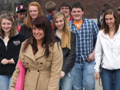 Buffalo State students and a guide tour campus.
